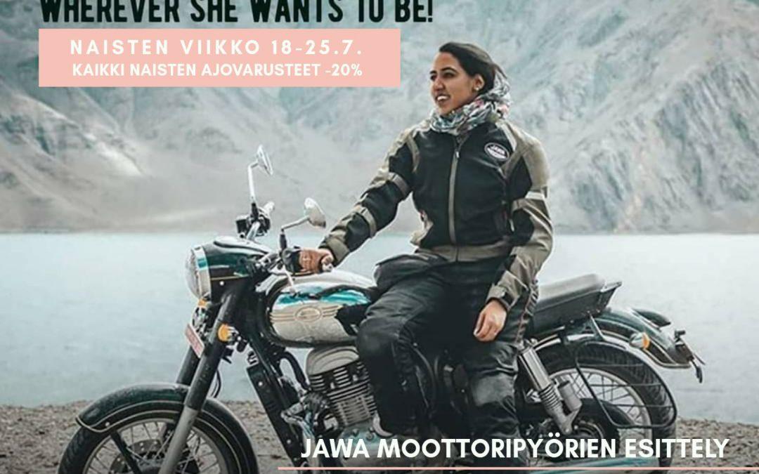 Myymälässä 18.7 uusien Jawa-moottoripyörien esittely sekä naistenviikon alennusmyynti